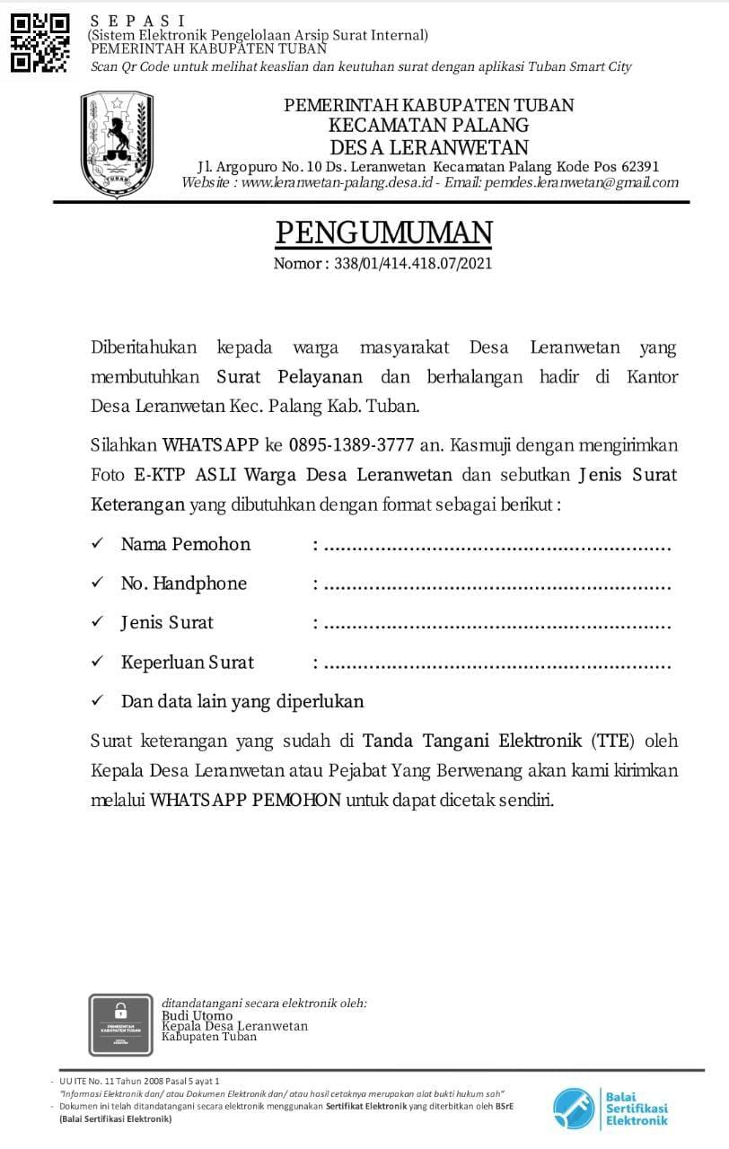 DESA LERANWETAN Surat Menyurat dengan Tanda Tangan Elektronik (TTE)